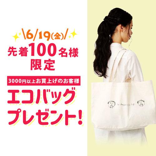先着100名様 3000円以上お買上げのお客様 エコバッグプレゼント!