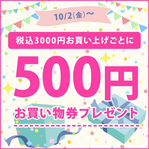 10/2(金)~税込3000円お買い上げごとに500円お買物券プレゼント
